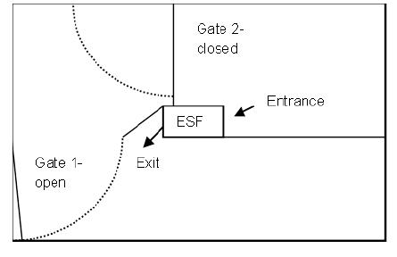 As the day progresses, gilts move through the feeder to the exit side. Gates are adjusted to allow more space in the exit area, crowding animals on the entrance side