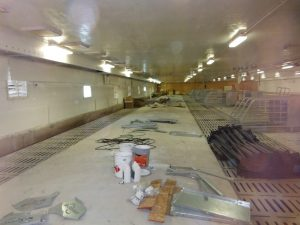 HyLife-Rosco Farm Gestation area equipment installation. Note slope on cement floor